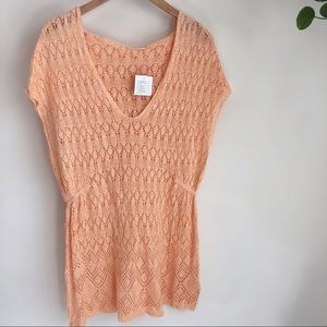NWT!! MOTH peach crocheted hooded tunic❤️